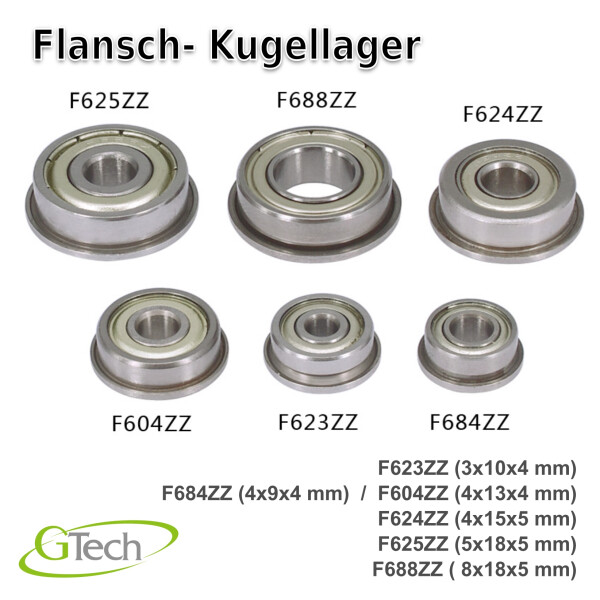 Flansch Kugellager  F625ZZ ( 5x16x5 mm )